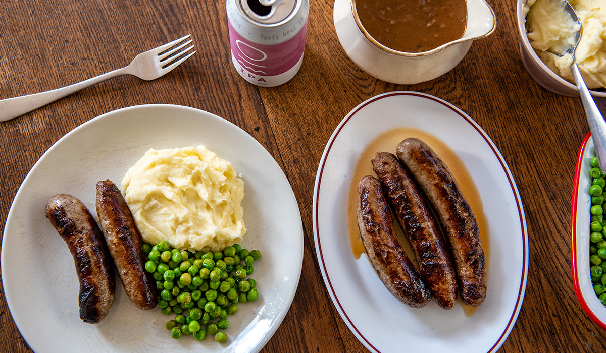 Bangers & mash with onion gravy