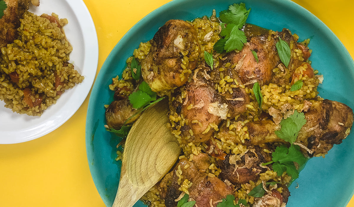 Bridget's Braised chicken & rice with yellow curry paste