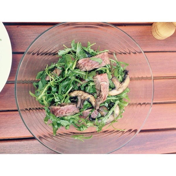 Grilled Steak and Field Mushrooms with Rocket