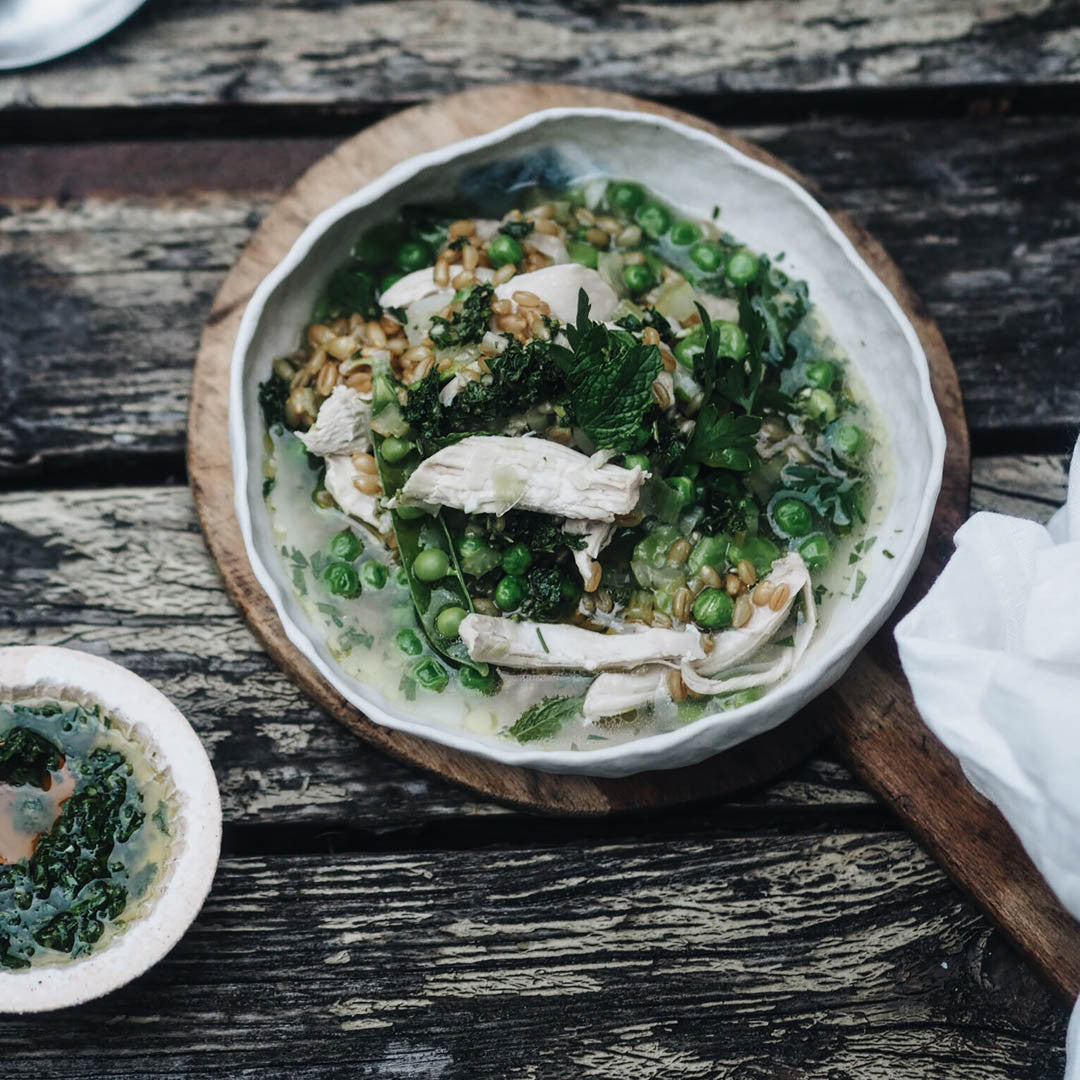 Chicken with spring vegetables and wheat by Julia Ostro