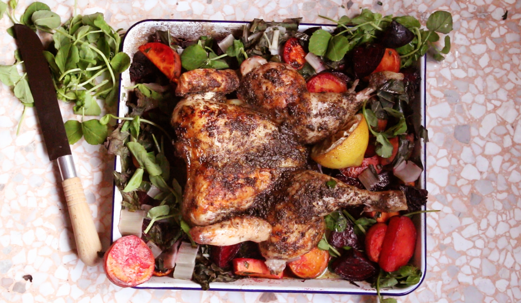 Lemon Pepper Butterflied Roast Chicken