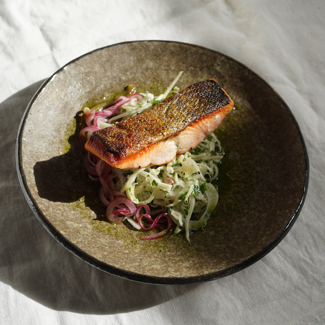 Crispy Skin Salmon with Fennel + Cabbage