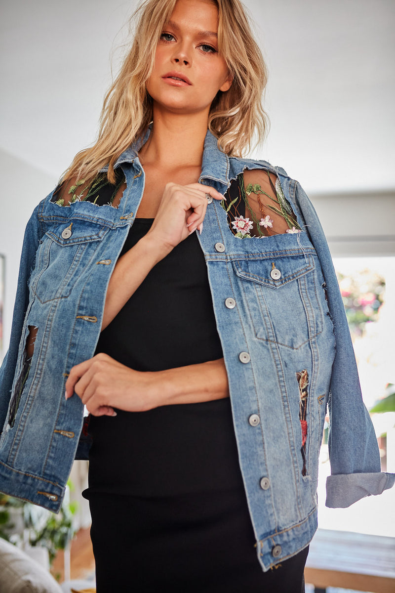 Sawyer Mesh Detail Denim Jacket