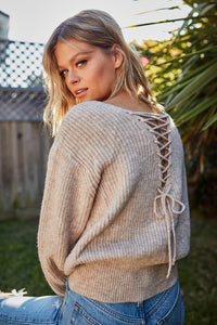Emily Lace Up Sweater Top