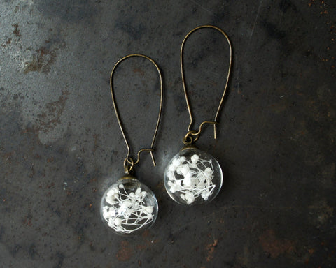 Baby's Breath Glass Globe Earrings