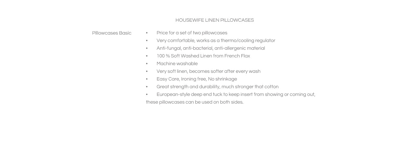Features Linen Pillowcases Basic Housewife