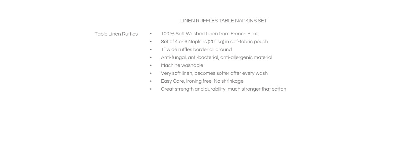 Features Linen Ruffles Table Napkins Set