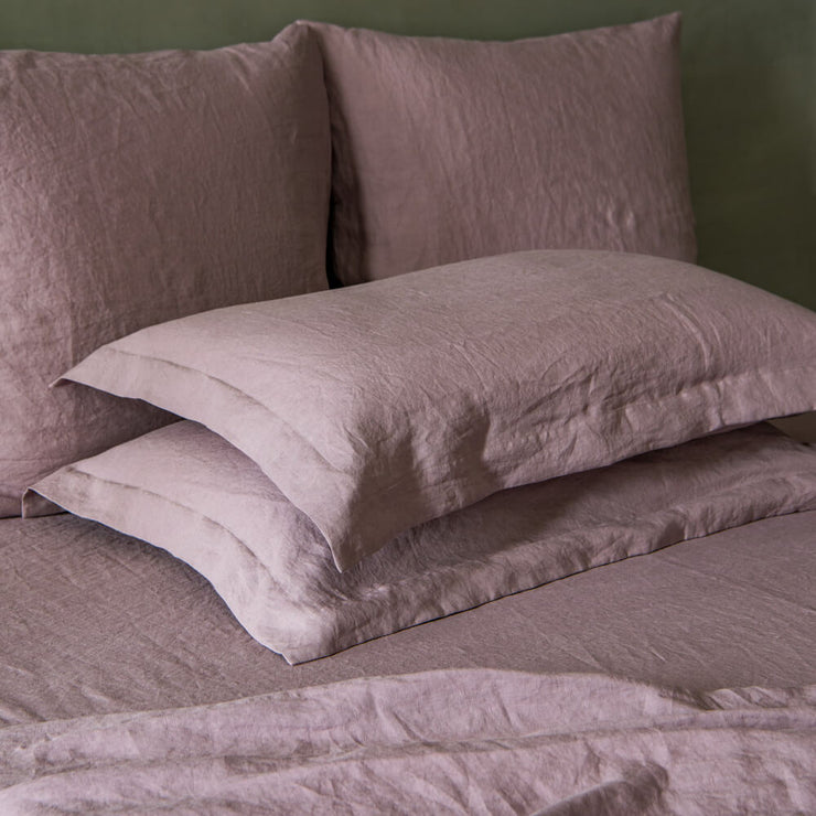 Flanged Border Pillowcases Lilac - Linenshed-2