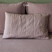 Quilted Linen Pillowcase Lilac