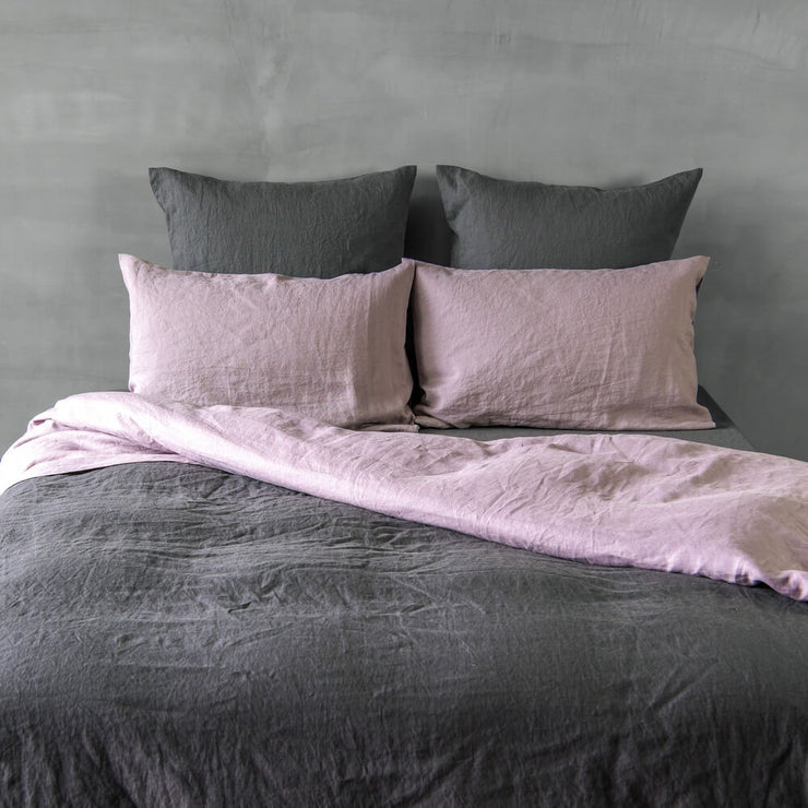 Stonewashed Linen Duvet Cover Lead Gray