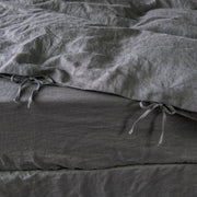 Self Fabric closing Linen Duvet Cover Lead Gray