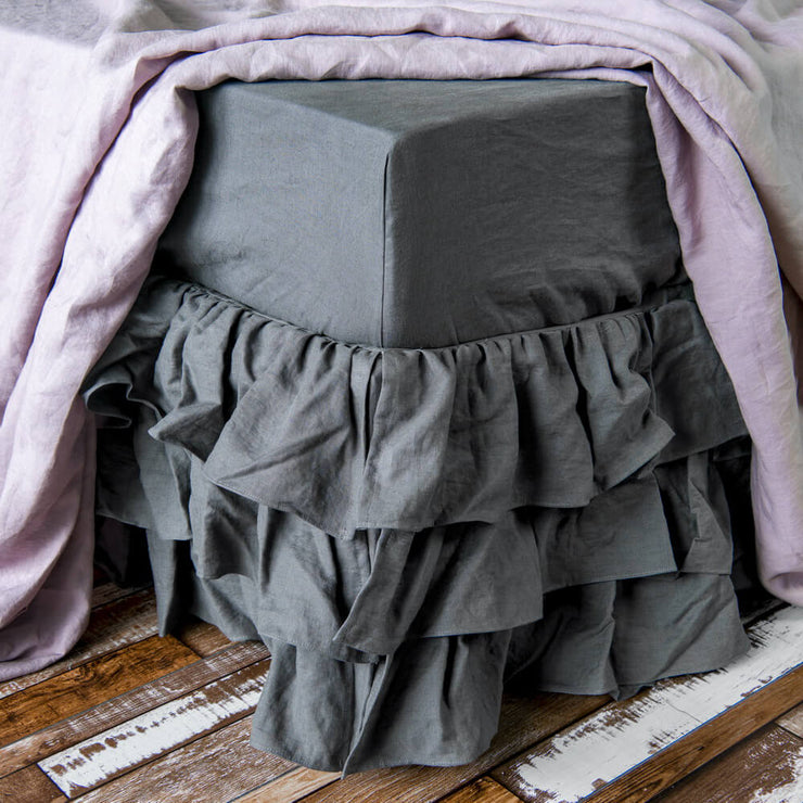 Waterfall Bed Skirt Lead Gray