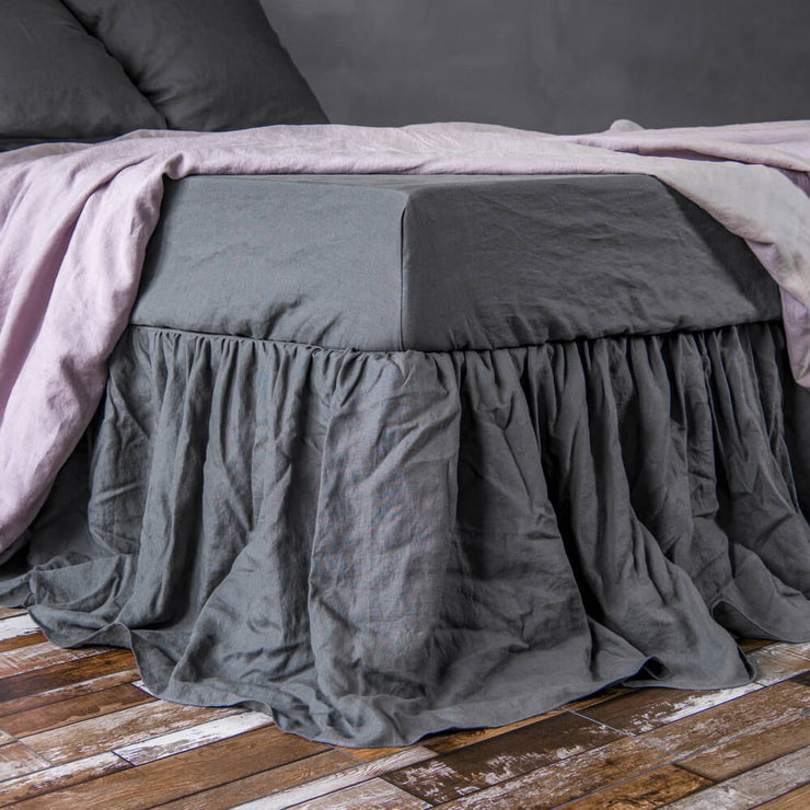 Gathered bed skirt Lead Gray