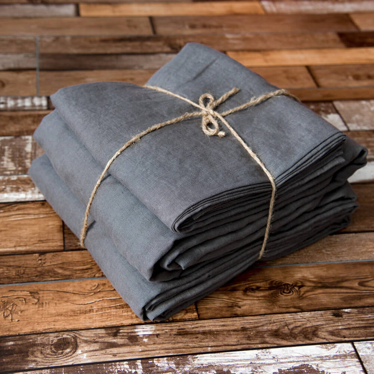 100 % Linen Sheets Set in Lead Gray - Linenshed