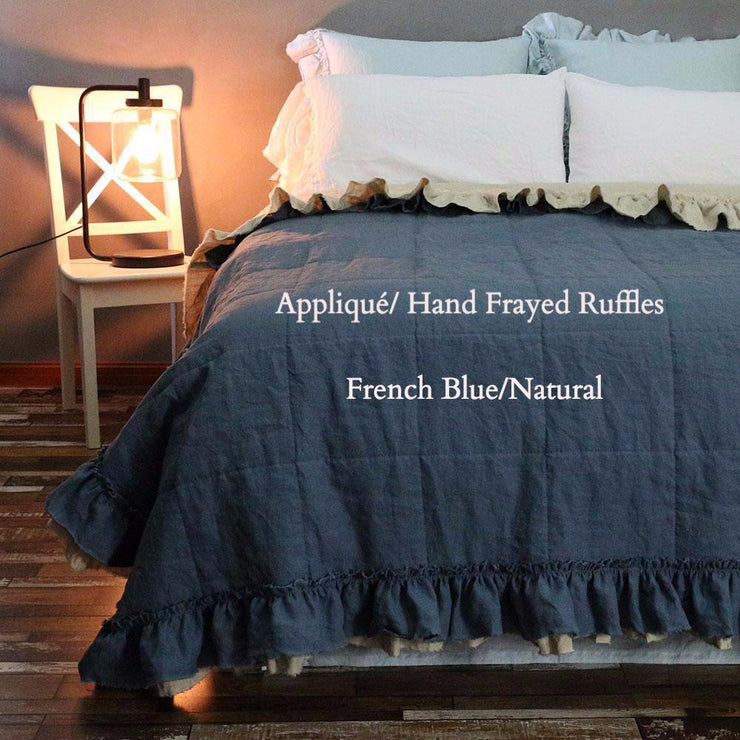 French Blue/Natural Linen Ruffle Quilted Bedspread