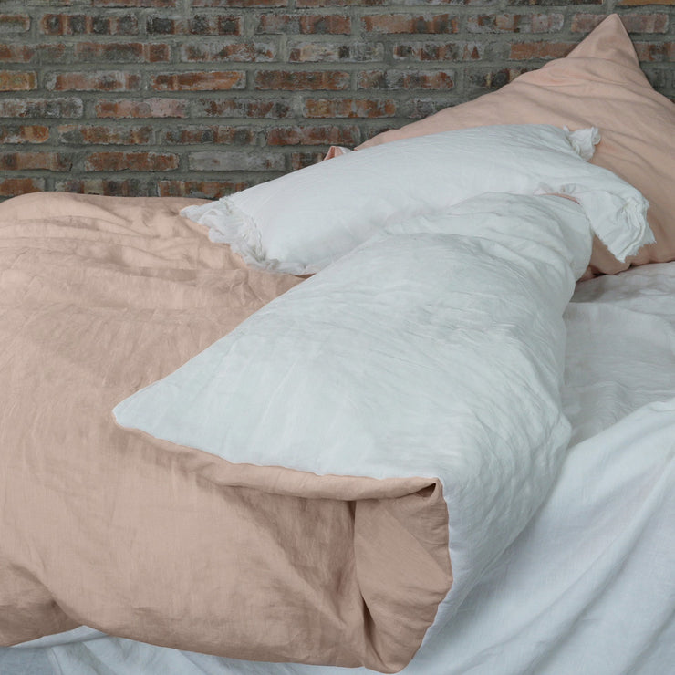 Two Tones Linen Bedding Pale Salmon/Optic White Duvet Cover