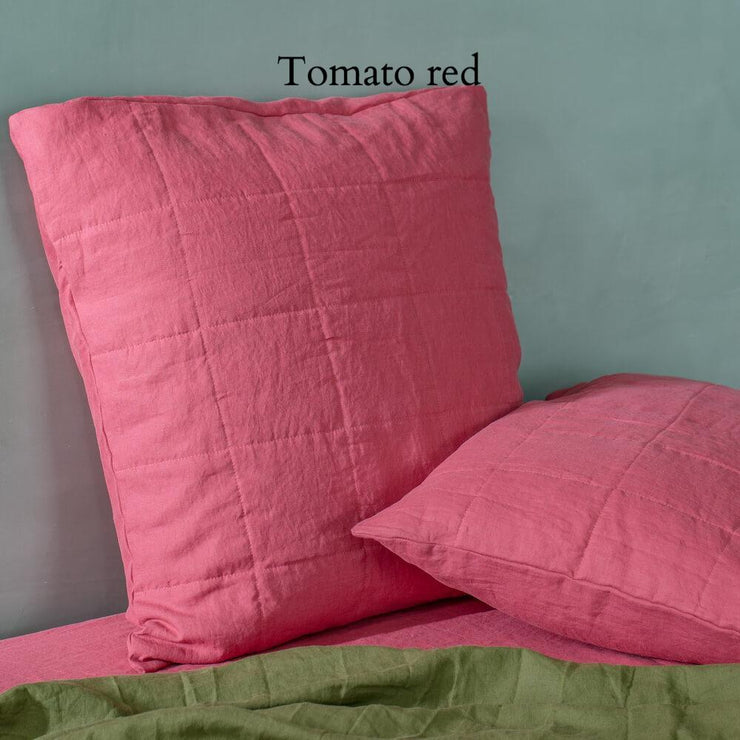 Quilted Linen Pillowcase Tomato Red