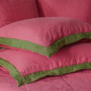French Color Border Linen Pillowcases Pair Tomato Red-Green Olive