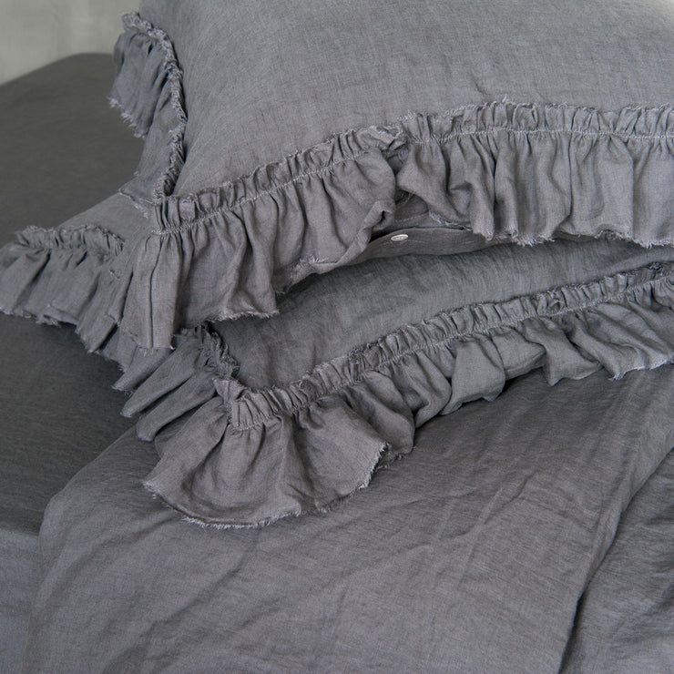 Pure Linen Frayed Ruffles Pillowcases Lead Gray
