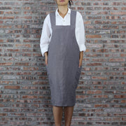 Japanese Style Washed Linen Apron Lead Gray 01