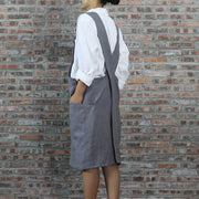 Japanese Style Washed Linen Apron Lead Gray 02