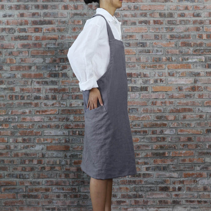 Japanese Style Washed Linen Apron Lead Gray 03