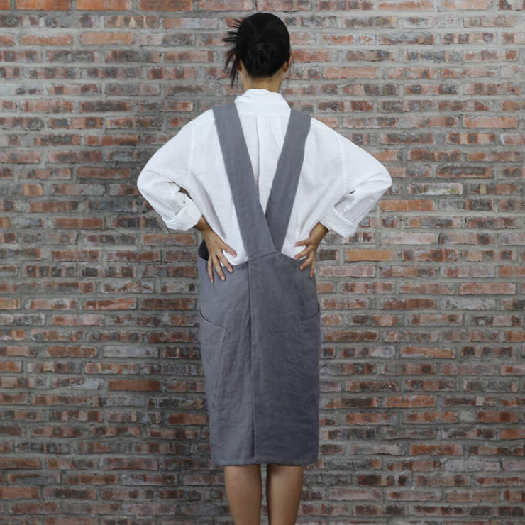 Japanese Style Washed Linen Apron Lead Gray 04