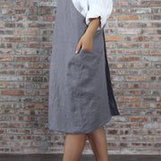 Japanese Style Washed Linen Apron Lead Gray 05