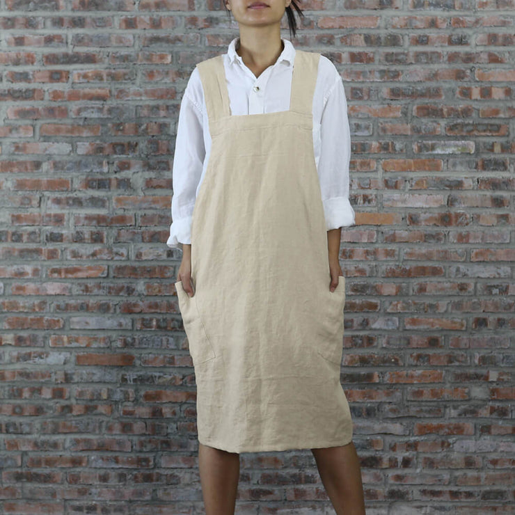 Japanese Style Washed Linen Apron Natural 01