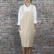 Japanese Style Washed Linen Apron Natural 02