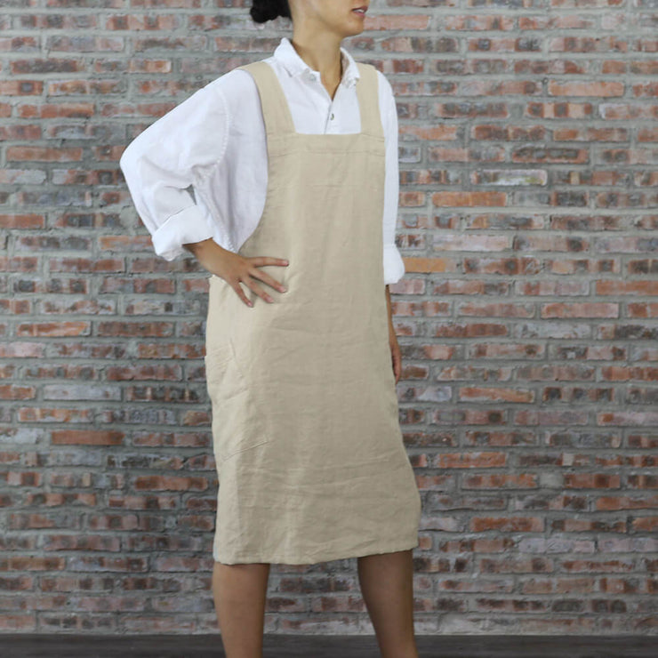 Japanese Style Washed Linen Apron Natural 03