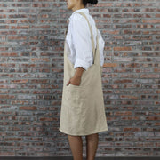 Japanese Style Washed Linen Apron Natural 04