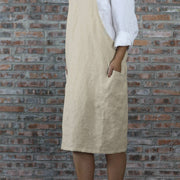 Japanese Style Washed Linen Apron Natural 06