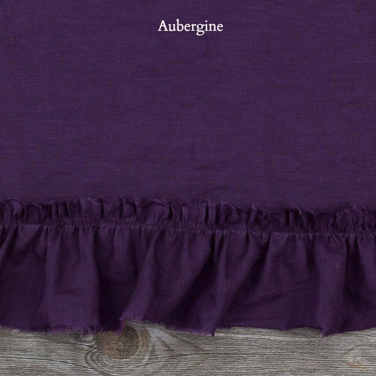 Duvet Cover with Frayed Ruffles Aubergine