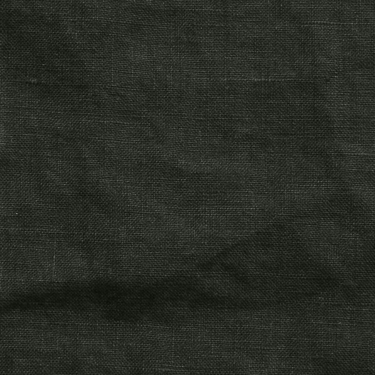 Pure Linen Fabric Black Olive Close Up