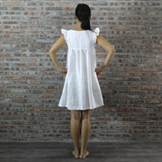 Back Detail of Baby Doll Linen Dress