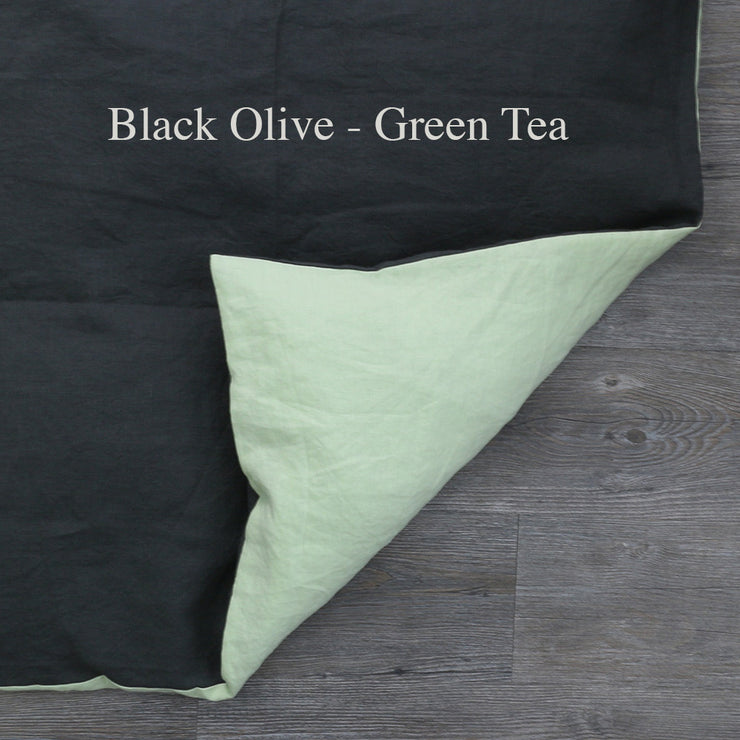 Two Tones Duvet Cover Black Olive-Green Tea