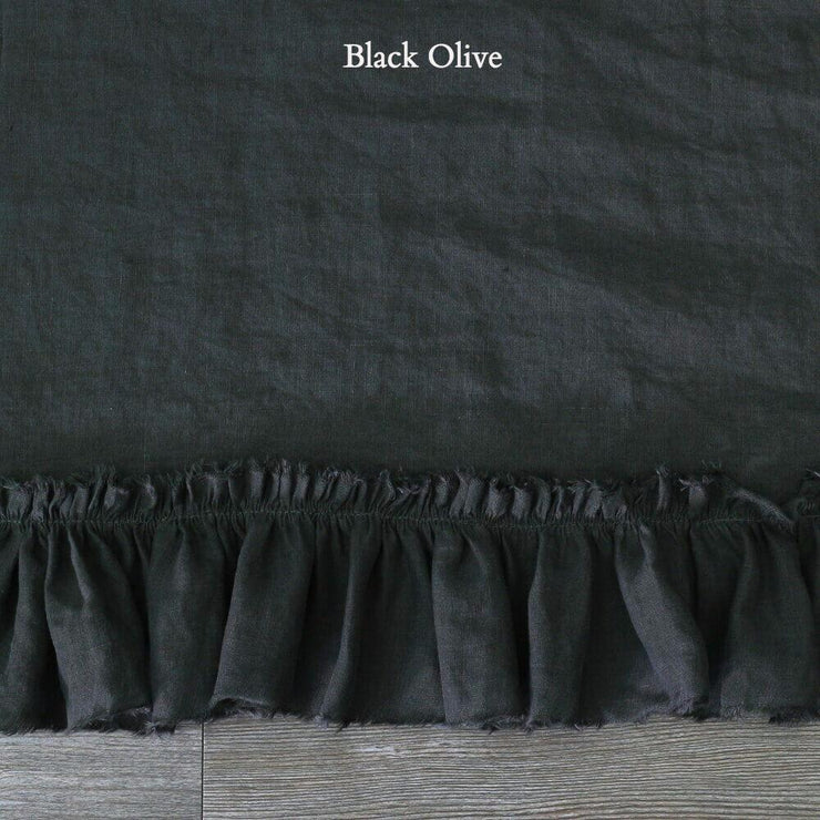 Duvet Cover with Frayed Ruffles Black Olive