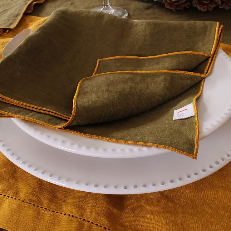 Linen Bourdon Edge Table Napkins Set - Linenshed