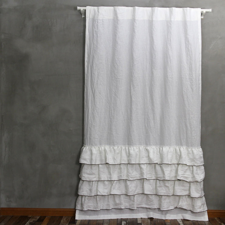 Ruffles Linen Window Curtain with Bourdon Edge - Linenshed