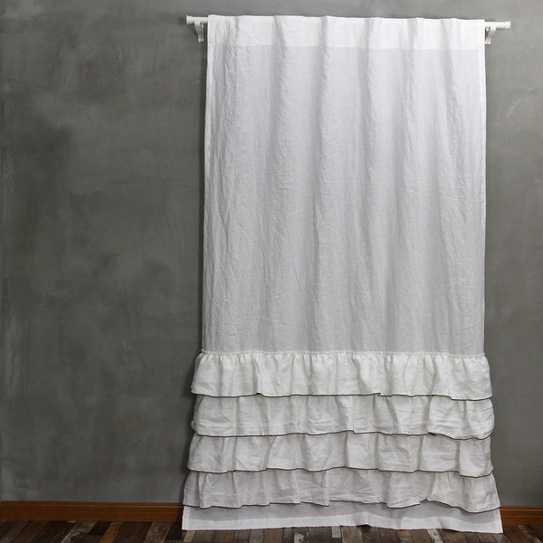 Ruffles Linen Window Curtain With Bourdon Edge