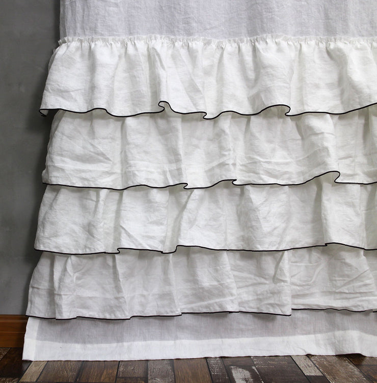Ruffles Linen Window Curtain with Bourdon Edge Closeup - Linenshed