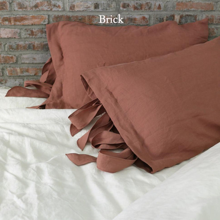 Linen Pillowcases with Bow Ties Brick - Linenshed