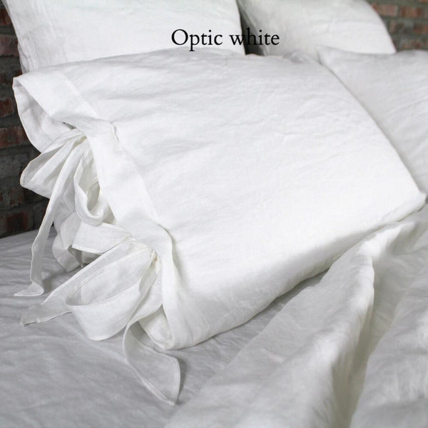 Linen Pillowcases with Bow Ties Optic White - Linenshed