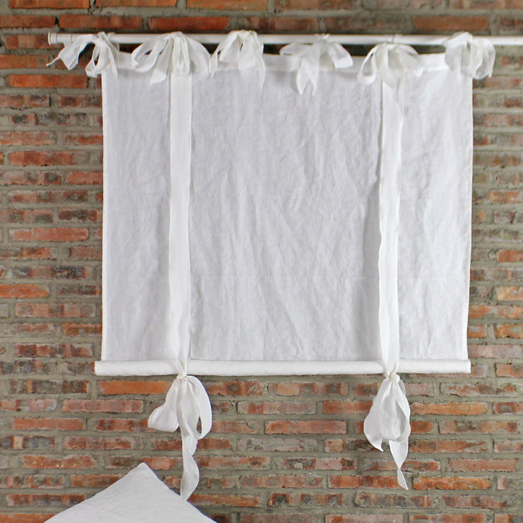 Bow Ties Pure Washed Ready Made Linen Curtains - Linenshed