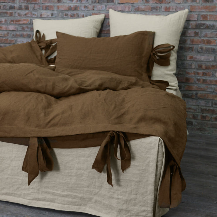 Bow Ties Washed Linen Duvet Cover Earth Brown - Linenshed
