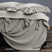 Bow Ties Washed Linen Duvet Cover Natural - Linenshed