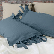 Linen Pillowcases with Bow Ties French Blue