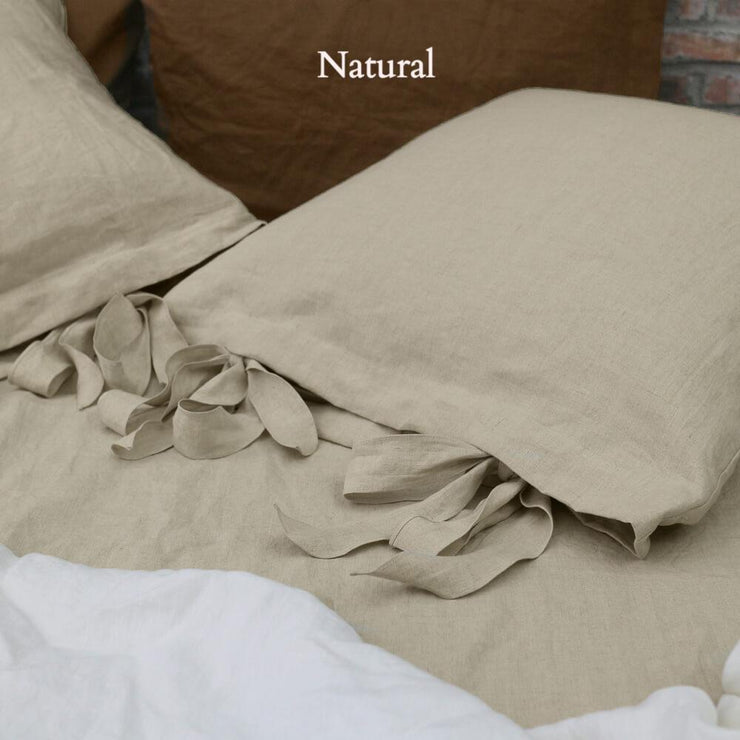 Linen Pillowcases with Bow Ties Natural - Linenshed