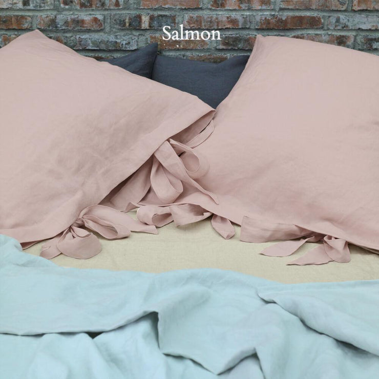 Linen Pillowcases with Bow Ties Salmon - Linenshed